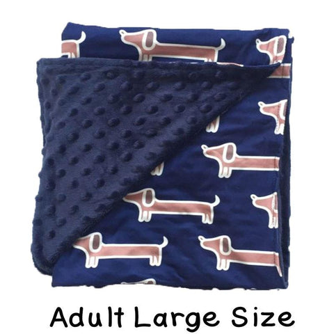 Adult Large Navy Puppy Dog Minky Blanket