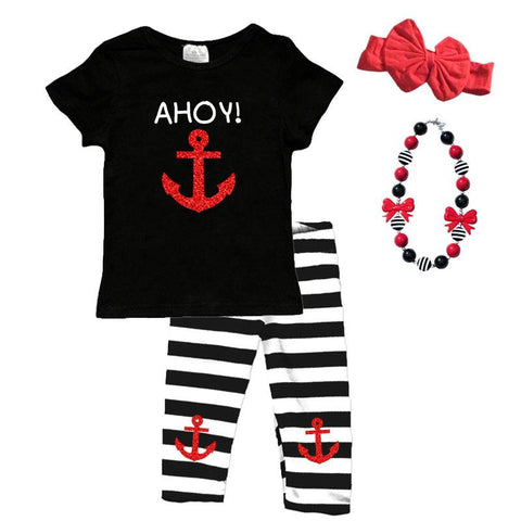 Ahoy Anchor Outfit Red Sparkle Black Stripe Top And Capri