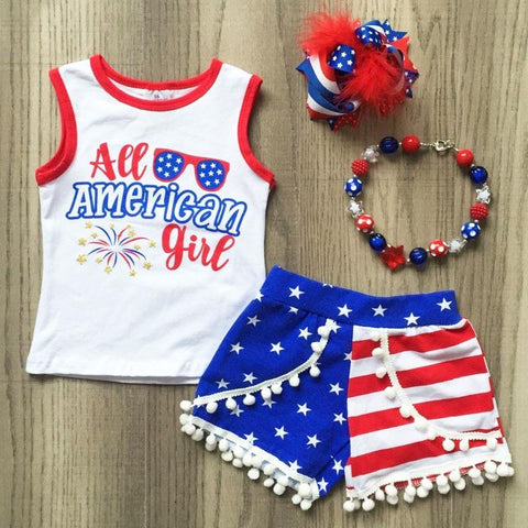 All American Girl Outfit Stars Glasses Pom Top And Shorts