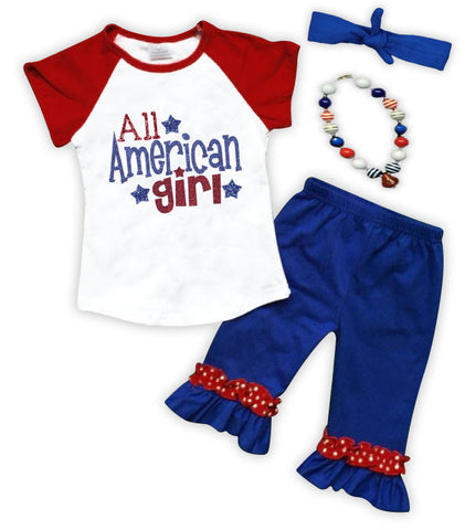All American Girl Ruffle Capri Set