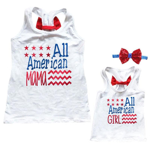 All American Tank Top Glitter Red Bow