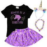 Always Be A Unicorn Outfit Purple Gold Polka Dot Top And Skirt