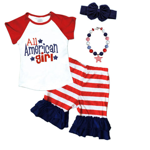 American Girl Stripe Top And Shorts