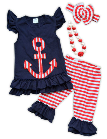 Anchor Navy Stripe Capri