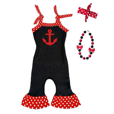 Anchor Romper Red Sparkle Polka Dot Black
