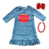 Apple Denim Ruffle Dress