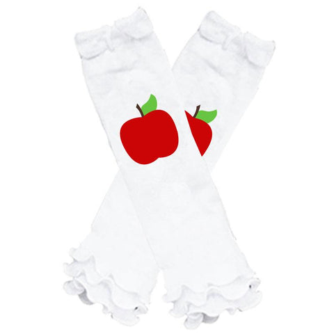 Apple Leg Warmers White Ruffle