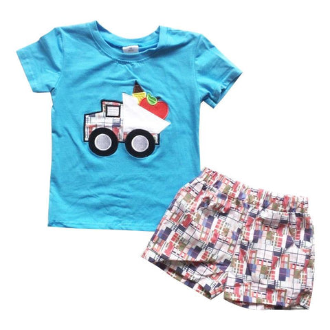 Apple Plaid Dumptruck Outfit Blue Shirt And Shorts Boy