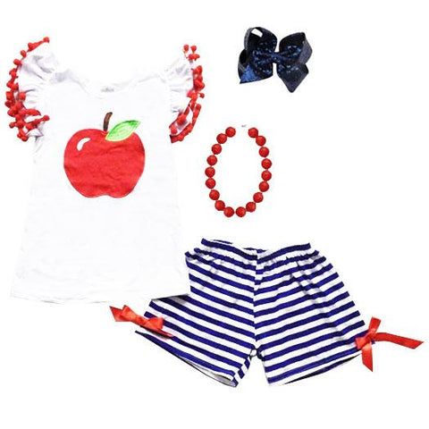 Apple Pom Outfit Blue Stripe Top And Shorts