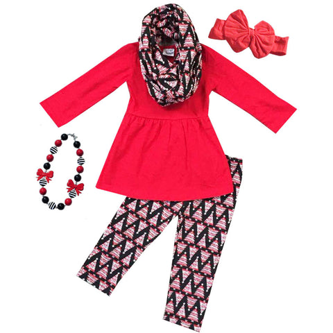 Aztec Tree Outfit Red Scarf Top And Pants