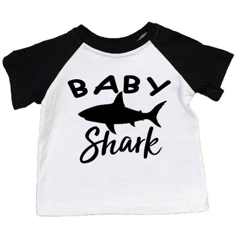 Baby Shark Shirt Black Raglan Boy