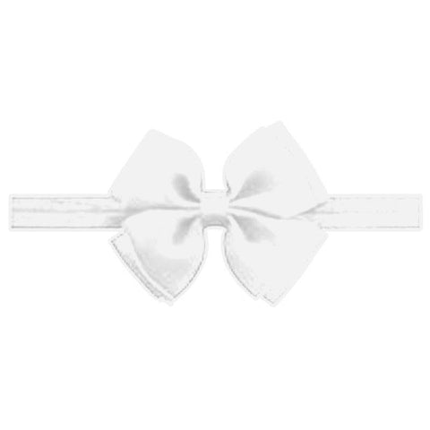 Baby White Double Bow Headband