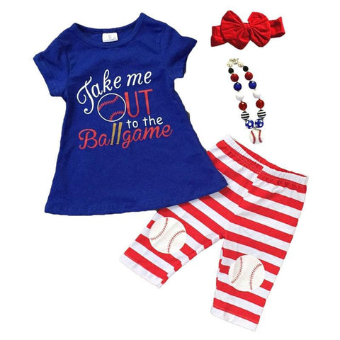 Ballgame Outfit Red Stripe Blue Top And Capri