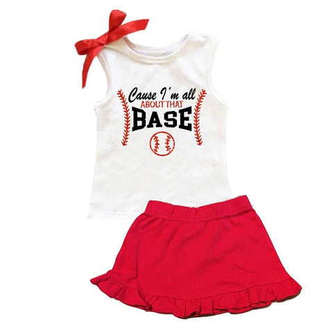 Baseball All About That Base Outfit Sparkle Tank Top And Skirt