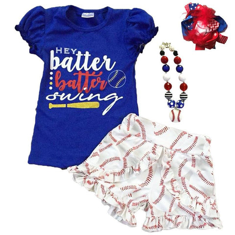 Baseball Batter Swing Outfit Blue Top And Shorts