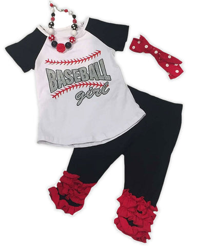 Baseball Girl Red Ruffle Capri Set