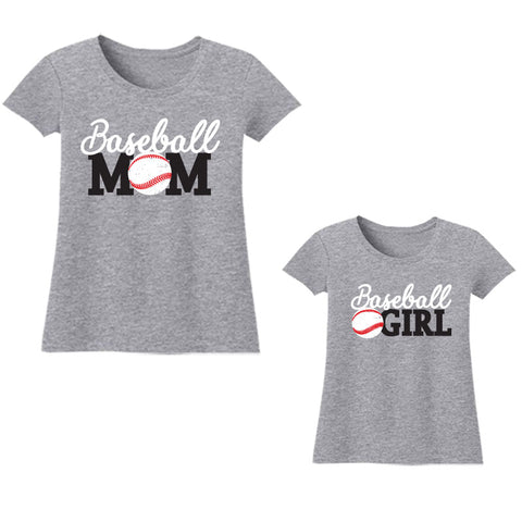 Baseball Girl Shirt Mommy Me Heather Gray