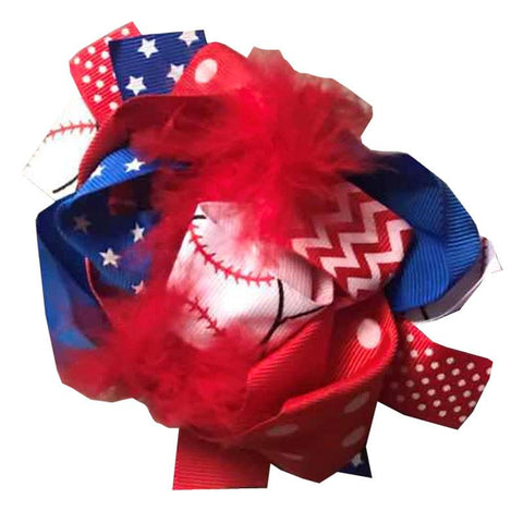 Baseball Hair Bow Blue Stars Red Feather Polka Dot
