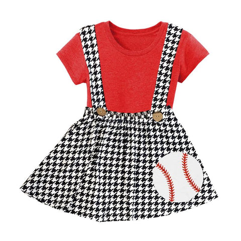 Baseball Houndstooth Outfit Red Top And Jumper