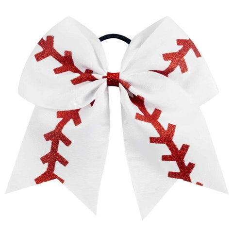 Baseball Laces Ponytail Holder Bow