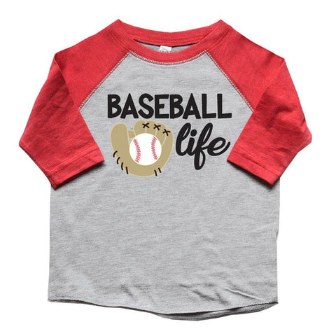 Baseball Life Raglan Shirt Red Gray Glove