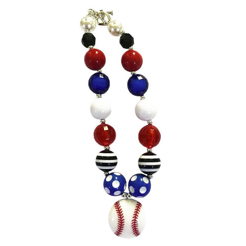 Baseball Necklace Blue Chunky Gumball Red Black Stripe