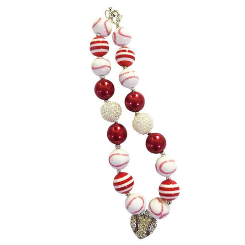 Baseball Necklace Heart Chunky Gumball Red White Stripe