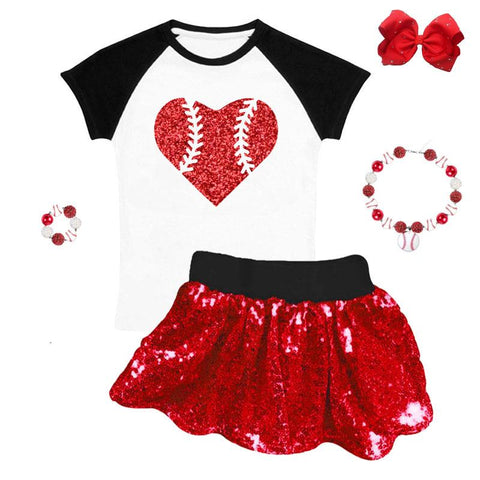 Baseball Red Heart Outfit Sequin Top And Skirt