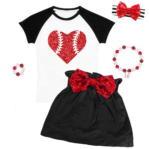 Baseball Red Heart Outfit Sparkle Top And Skirt