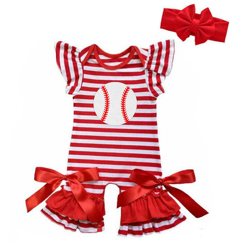 Baseball Red Stripe Romper Satin Bows