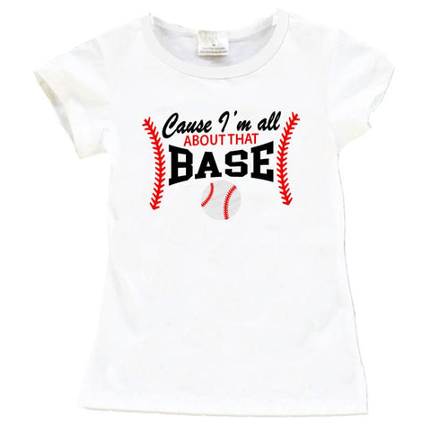 Baseball Shirt All About That Base White Red