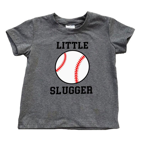 Baseball Shirt Little Slugger Dark Heather Gray