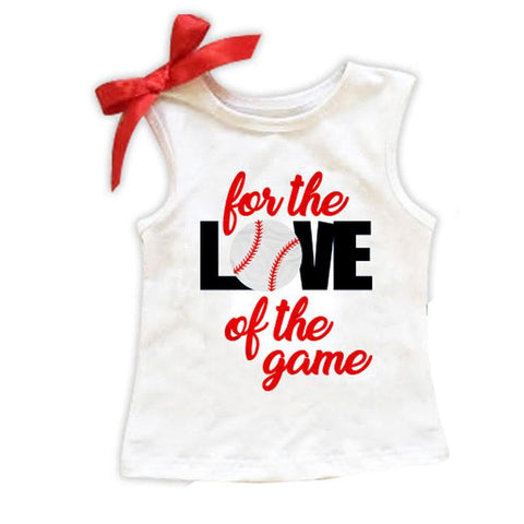Baseball Shirt Love Of The Game Black Red Bow
