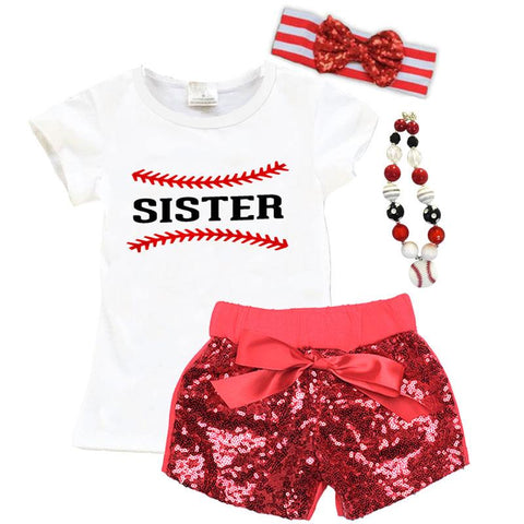 Baseball Shirt Sister White Red