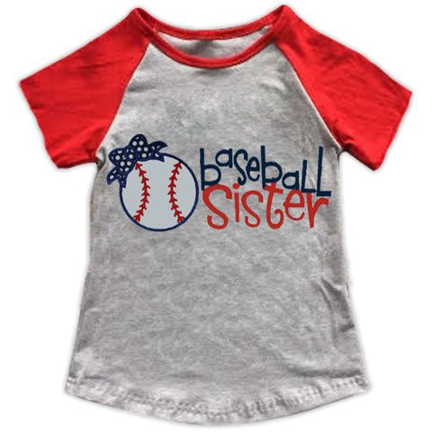 Baseball Sister Gray Red Shirt