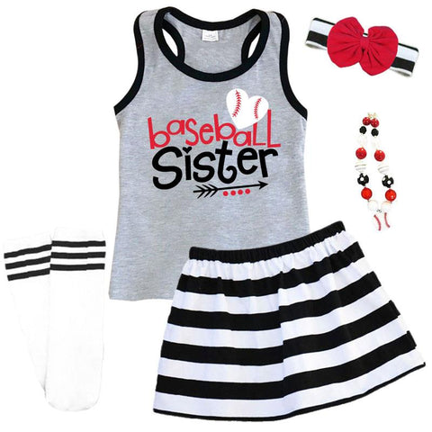 Baseball Sister Outfit Black Stripe Gray Tank Top And Skirt