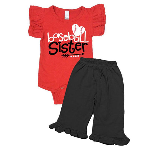 Baseball Sister Outfit Ruffle Red Onesie And Pants