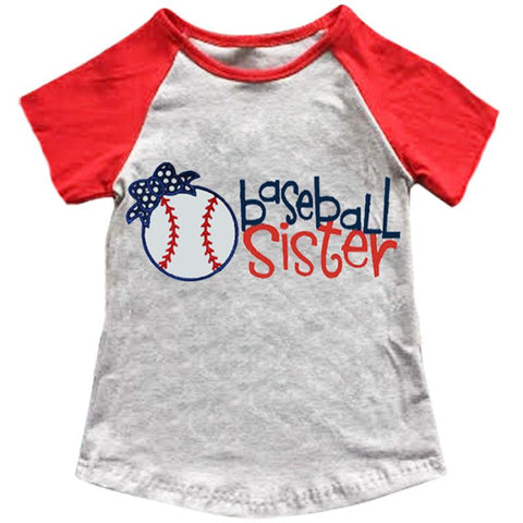 Baseball Sister Shirt Bow Gray Red Raglan