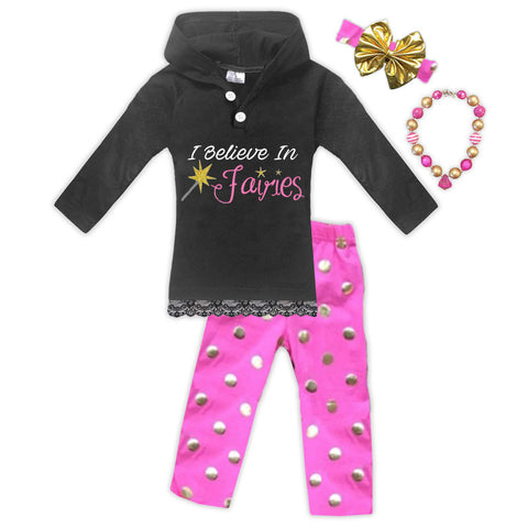 Believe In Fairies Polka Hoodie Pant Set