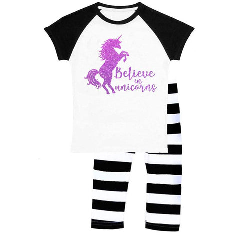Believe In Unicorns Outfit Purple Black Stripe Top And Capri