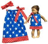 Big White Stars Red Polka Doll Dress