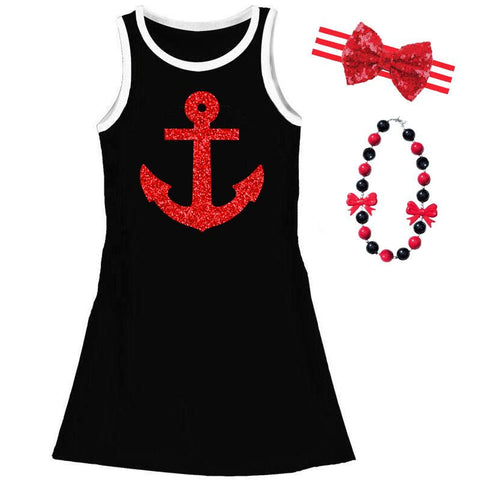 Black Anchor Tank Dress Red Sparkle