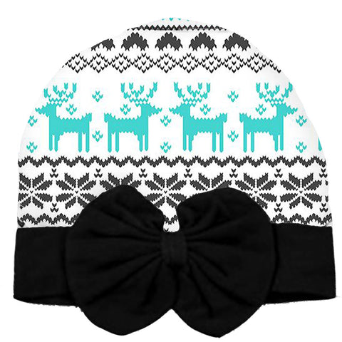 Black Aztec Beenie Hat Teal Deer Messy Bow