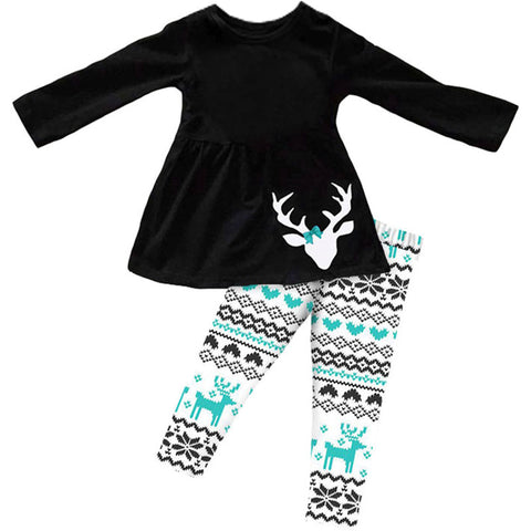 Black Aztec Outfit Teal Deer Scarf Top And Pants