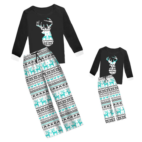 Black Aztec Pajamas Teal Deer Mommy Me