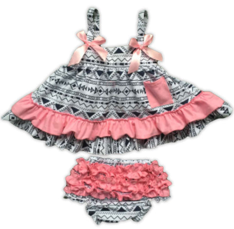 Black Aztec Pink Ruffle Two Piece