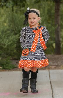 Black Aztec Polka Pumpkin Dress
