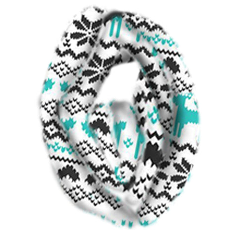 Black Aztec Scarf Teal Deer