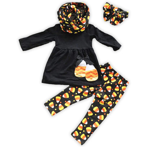 Black Candy Corn Scarf Pant Set