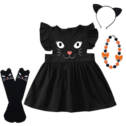 Black Cat Dress Ruffle Kitty Face